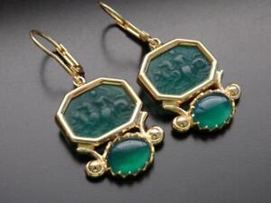 TAGLIAMONTE Earrings YGP/SS Green Venetian glass Cameo+Jade leverbacks