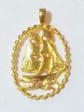 Sailing Ship Pendant Gold Plated Nautical Necklace Charms Free Shipping Gift