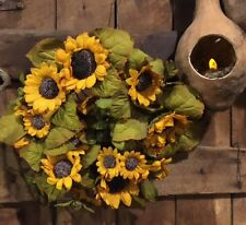 Primitive Dried Artificial Sunflower Wreath or Candle Ring Cottage Cabin