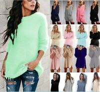 Womens Pullover Baggy Knitted Home Long Sleeve Winter Jumper Sweater Long