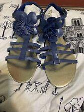 Floral Gladiator Sandals Blue Size 10
