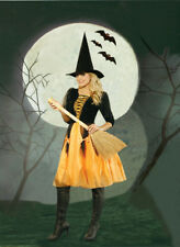 Witch Costume Dress with Black Top Orange Skirt Sheer Overlay and Hat Small 9606