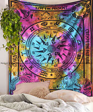 Cycle of the ages mandala tapestry indian cotton bohemian bedspread wall hanging