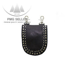 Women's Black Premium Leather Purse Bag with Studs