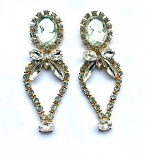 Large Sparkly Cameo & Diamante Drop Statement Stud Earrings