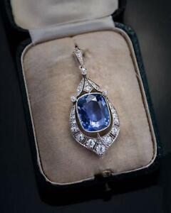 Rare 12.47 Ct Ceylon Sapphire and White Cz Vintage Art Deco Pendant 925 Silver