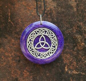 Triquetra Pendant in Purple Oak, Wiccan jewelry, unisex gift, Celtic Knot, Witch