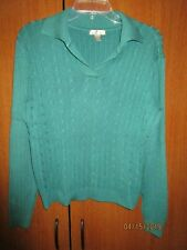 White Stag Green Knit Top Sz XL 16 18 Acrylic Nylon Bust 50 52 Length 22 inches