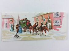 1967 Vintage Used Christmas Slim Greeting Card Mid Century Horse & Carriage