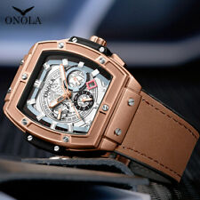 Relojes Hombre Big Face Chronograph Mens Watch Analog Fashion Leather Wristwatch