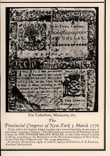 1926 AD  FOR SALE PROVINCIAL CONGRESS OF NEW YORK MARCH 1776 BILL SPANISH COIN