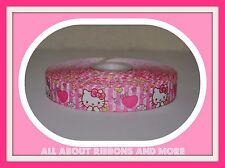 7/8 INCH HELLO KITTY WITH HEARTS ON PINK STRIPED GROSGRAIN RIBBON-1  YD