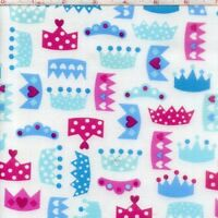 REMNANT: PRINCESS CROWNS Cotton Print Fabric by ROBERT KAUFMAN  BTY