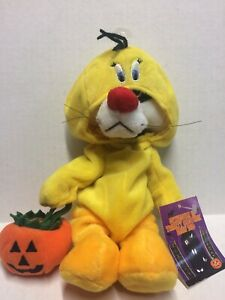 """Warner Brothers 10"""" SYLVESTER IN TWEETY COSTUME Bean Bag Plush with Tag"""