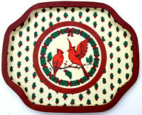 "Vintage 8"" Metal Tray Tins Lot of 4 Cardinals & Holly Print Holiday Pattern"