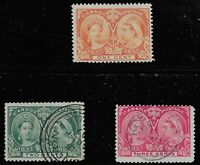 Canada Scott #51-53, Singles 1897 FVF Used/MH