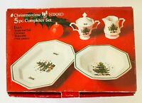 Nikko Christmastime 5 pc Completer Set Sugar Creamer Vegetable Bowl Platter