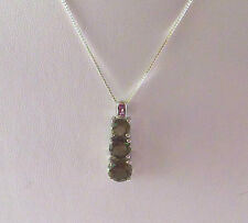 3.88 ct Natural Smokey Topaz Solid 925 Sterling Silver Pendant & Chain