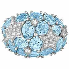 Unique 15 CT Blue Topaz & White CZ Stone Women's Fun Dome Sterling Silver Ring