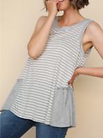 Umgee | Sleeveless Slub Knit Ruffle Side Detail Striped Top | NWT Size: M