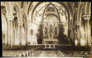 St. Boniface Church Interior, STUART, NEBRASKA, Photo Post Card 1919 HOLT COUNTY