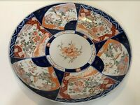 "Antique Japanese Hand Painted Imari Porcelain Large Charger, 17 1/2"" Diameter"