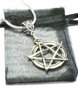Pentacle Pentagram Necklace Pendant wicca cord chain pagan silver free gift bag