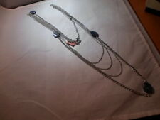 "Sodalite & White Glass Bead Necklace 38"" in Stainless Steel - 15.00 Carats"