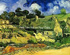 Strohgedeckte Häuschen bei Cordeville by van Gogh Leinwand-druck/Fine Art Poster