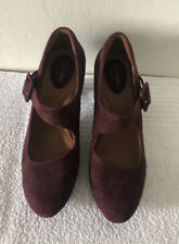 Clarks Burgundy Plum Suede Leather Heels Pumps Women's Shoes Size 7