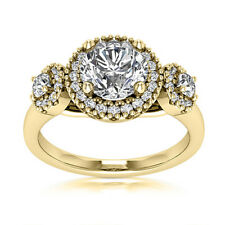 Certified 3 Stone 1.00 Carat VS2/H Round Cut Diamond Engagement Ring Yellow Gold