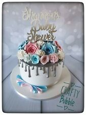 Personalised Hand Made Baby Shower Cake Topper - Different Colours WOODEN