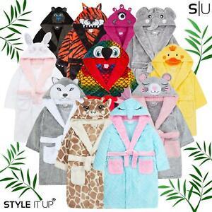 Kids Boys Girls Dressing Gown Fleece Bathrobe Novelty Animal Fancy Dress Up Gift