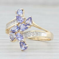 1ctw Tanzanite Cluster Ring 10k Yellow Gold Size 8.25 Diamond Bypass