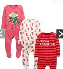 Ladybird 3pack Girls Christmas Sleepsuits 0-3months ⭐️BNWT⭐️