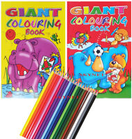 2 x 144 PAGES A4 JUMBO COLOURING BOOK BOOKS Children Kids Boys Girls 18 Pencils