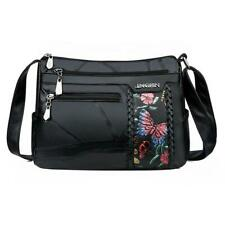 Women Elegant Flower Print Shoulder Bag Fashion Leather Crossbody Handbag Purse
