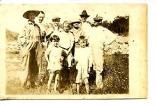 Family Group-Children w/ Fish-Lady in Overalls-RPPC-Vintage Real Photo Postcard