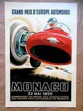 MONACO 1955 Affiche Litho J. RAMEL TRINTIGNANT FERRARI LANCIA MASERATI 1985 AUTO