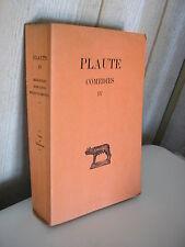 PLAUTE / COMEDIES Tome IV Collection Budé 1936