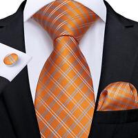USA Classic Orange Plaids&Checks Silk Necktie Mens Tie Set Woven Hanky Cufflinks