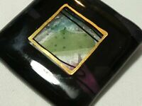 Beautiful vintage Large Square Abstract Art Glass Abstract Slab brooch