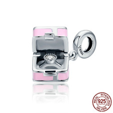 New 925 Sterling Romantic Marry Me Surprise Pink Box Charm Dangle fit Original