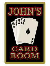 PERSONALIZED CARD/POKER ROOM SIGN DURABLE ALUMINUM FULL COLOR CUSTOM Sign BK#170
