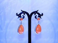 Luxurious Red Coral Look Gold Tone Metal Dangle Drop Earrings