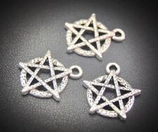 10PC PENTAGRAM_Charm Pendant Craft Silver_Pentacle Wiccan Witch Spell_19x17mm
