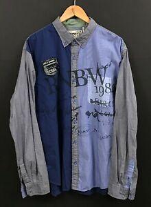 DESIGUAL Men's Blue/Gray Colorblock Long Sleeve Button-Front Shirt sz 2XL XXL