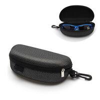 Portable Zipper Eye Glasses Sunglasses Clam Shell Hard Case Protector Box black