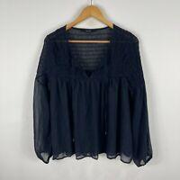 Decjuba Womens Tunic Top Large Blue Shimmer Long Sleeve V-Neck Tie Closure