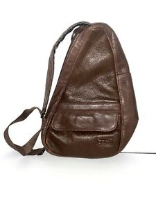 L.L. Bean Traveler Brown Leather Healthy Back Ameribag Sling Bag Single Strap